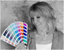 Color Consultant Jill Morton with fandeck of colors